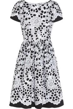 Oscar-de-la-renta_Black-printed-stretchcotton-dress