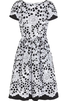 Oscar-de-la-renta_Black-printed-stretchcotton-dress