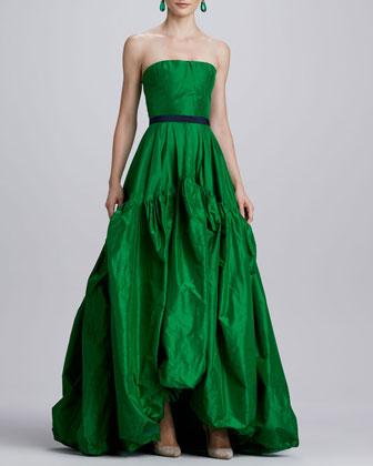 OscadelaRenta_silk gown Green_2