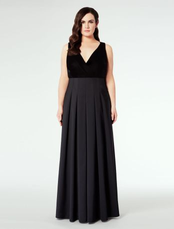 Marina Rinaldi, duchesse and velvet evening dress
