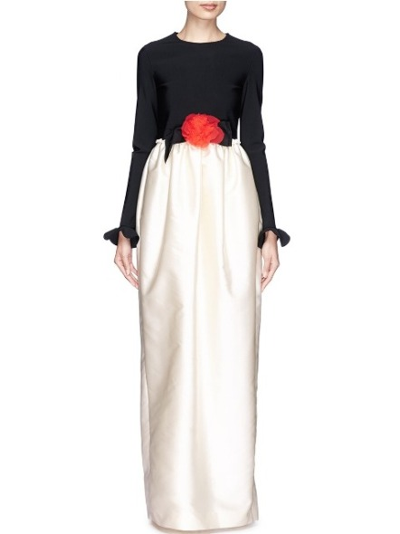 LANVIN, Fleur Corsage Peplum Sleeve Satin Gown