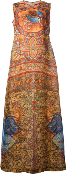Dolce Gabbana_ Silk-mosaic-print-dress