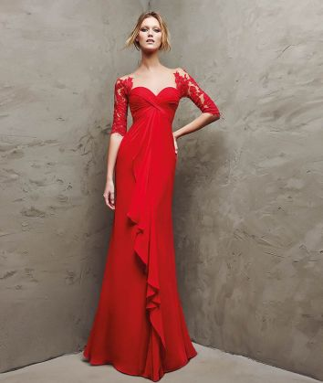 Pronovias_red evening dress