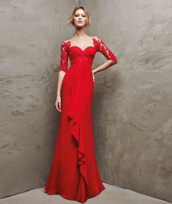 Pronovias_red evening dress