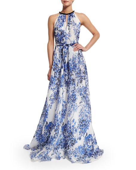 Carmen Marc Valvo - Floral print gown