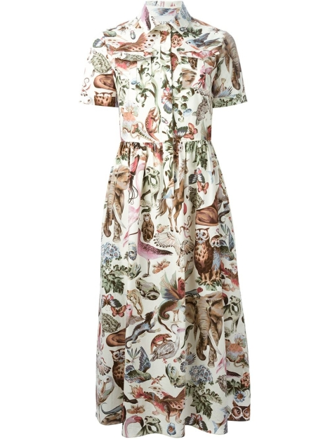 Valentino-multicolor-animal-print-shirt-dress