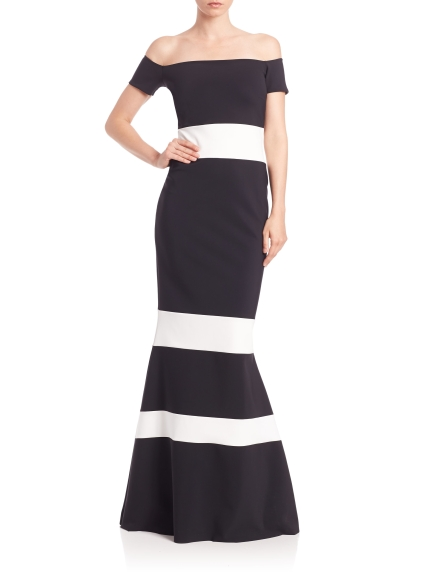 la-petite-robe-di-chiara-boni-black-white-off-the-shoulder-colorblock-gown-black