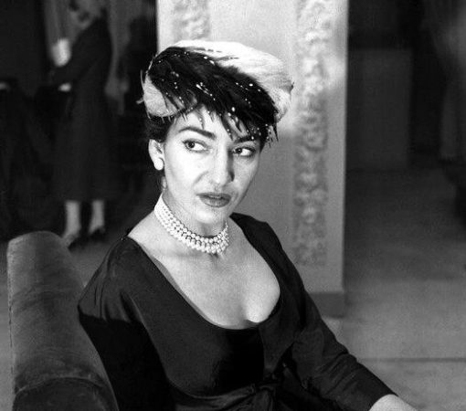 Maria Callas with a feather hat by Biki