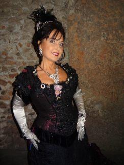 """Elena Mosuc as Violetta in Verdi's """"La Traviata"""" at Arena Opera Festival, Costumes by Hugo de Ana,"""