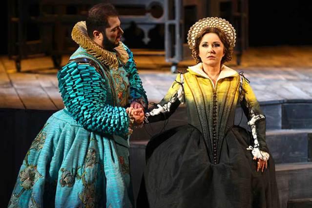 "Elena Mosuc in Donizetti's ""Maria Stuarda"" at Teatro Carlo Felice in Genova, 2017. Costume by Gianluca Falaschi."