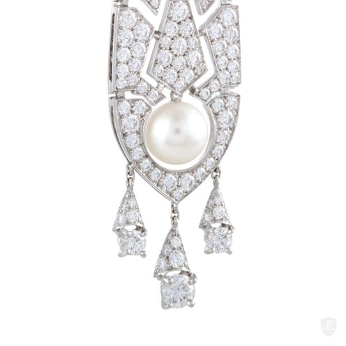 Cartier Cartier Evasions Joaillieres 18K White Gold Full Diamond Pave and White Pearl Drop Earrings1