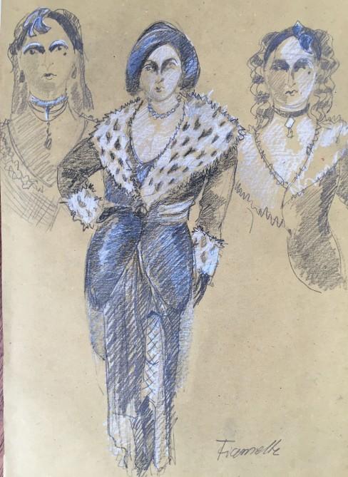 """Sketch for """"La cena delle beffe"""", directed by Mario Martone, Teatro alla Scala 2015"""